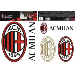 AC MIlan wall sticker logo 2 sheets