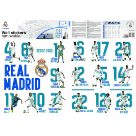 Real Madrid wall sticker 16 players 2 sheets