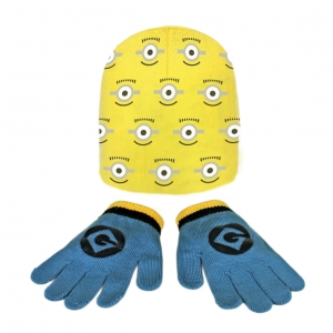 Minions autumn / winter hat and gloves set