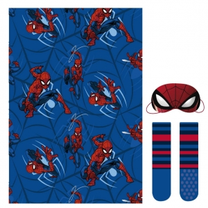 Spiderman fleece blanket, blindfold for sleeping and socks set