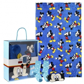 Mickey Mouse fleece blanket, blindfold for sleeping and socks set