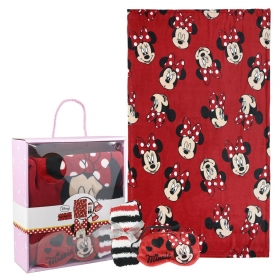 Minnie Mouse fleece blanket, blindfold for sleeping and socks set