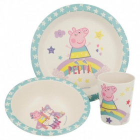 Bamboo 3 Pcs Set With Rim Peppa Pig Magical