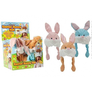 Plush easter rabbit hat with pump up moving ears
