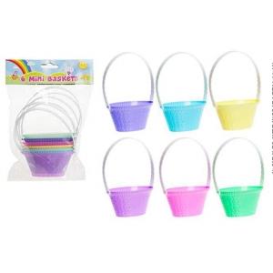 Mini pastel springtime basket 10 cm – 6 pack