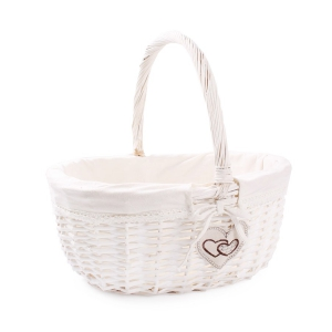 Tin Tours White wicker basket with fabric and patch 42x34x18 / 37h cm