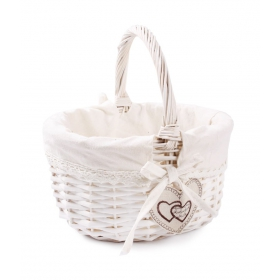 Tin Tours White wicker basket with embroidery and a patch of 25x21x12 / 25h cm