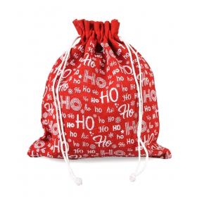 """Tin Tours Red jute holiday sack """"ho ho ho"""" 45x40 cm"""