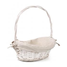 Tin Tours White wicker basket with embroidery 27x21x8 / 13/32 cm