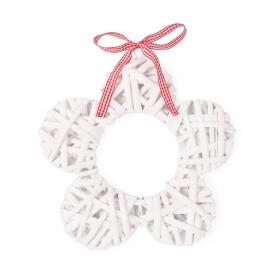 Tin Tours White wicker flower / decorative pendant 25x25x2 cm