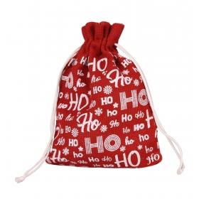 """Tin Tours Red jute holiday sack """"ho ho ho"""" 30x22 cm"""