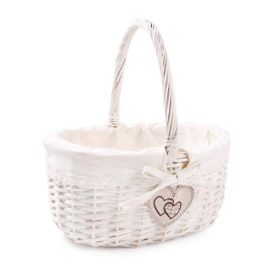 Tin Tours White wicker basket with a material and a patch 34x27x16 / 30h cm