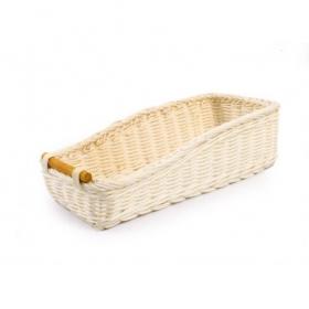 Rectangular rattan basket for cutlery 27x12x6 / 7h cm
