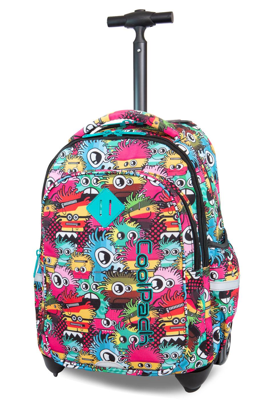 Coolpack   junior  rygsæk med hjul   wiggly eyes pink