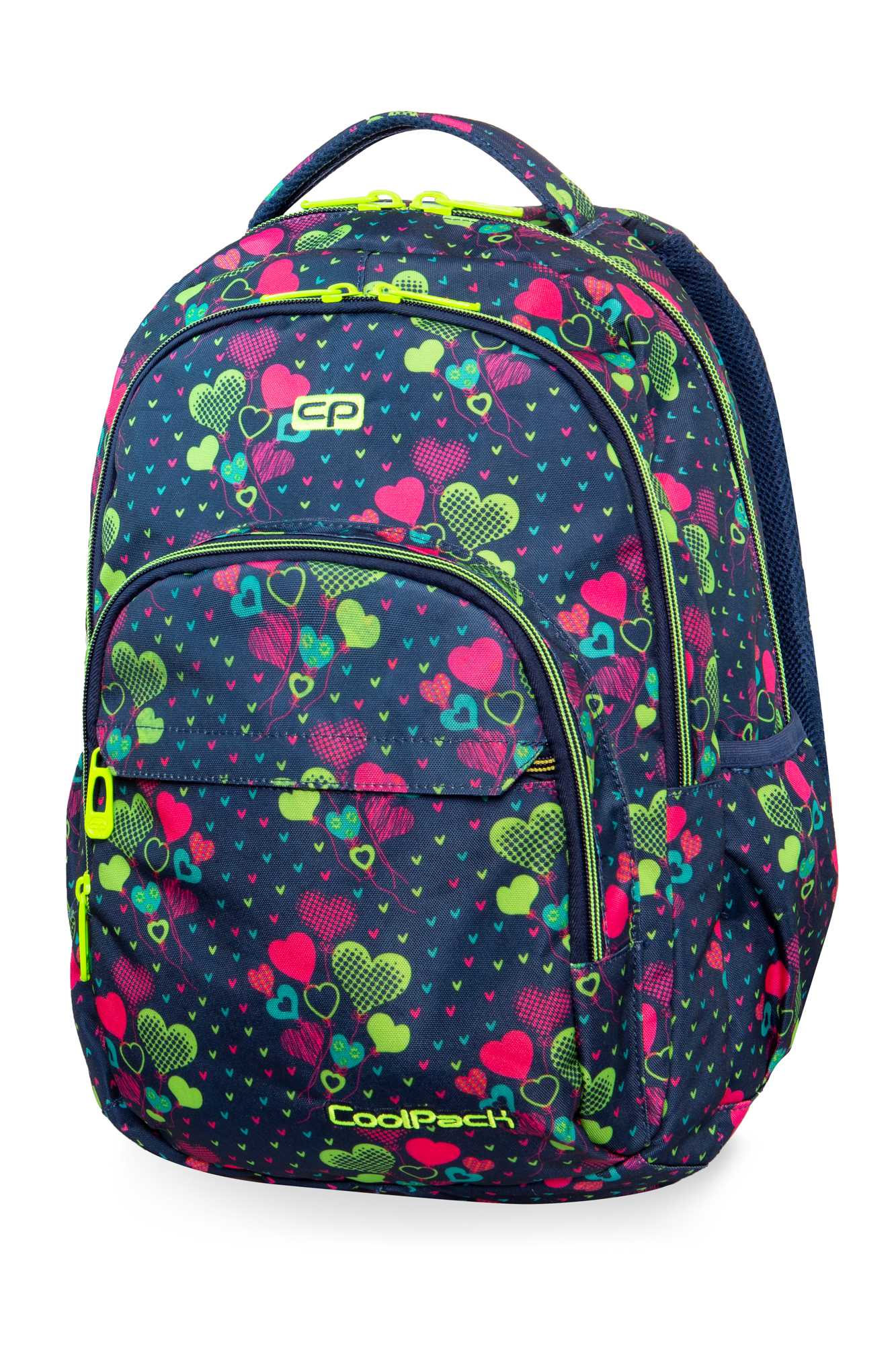 Coolpack - basic plus - youth backpack - lime hearts