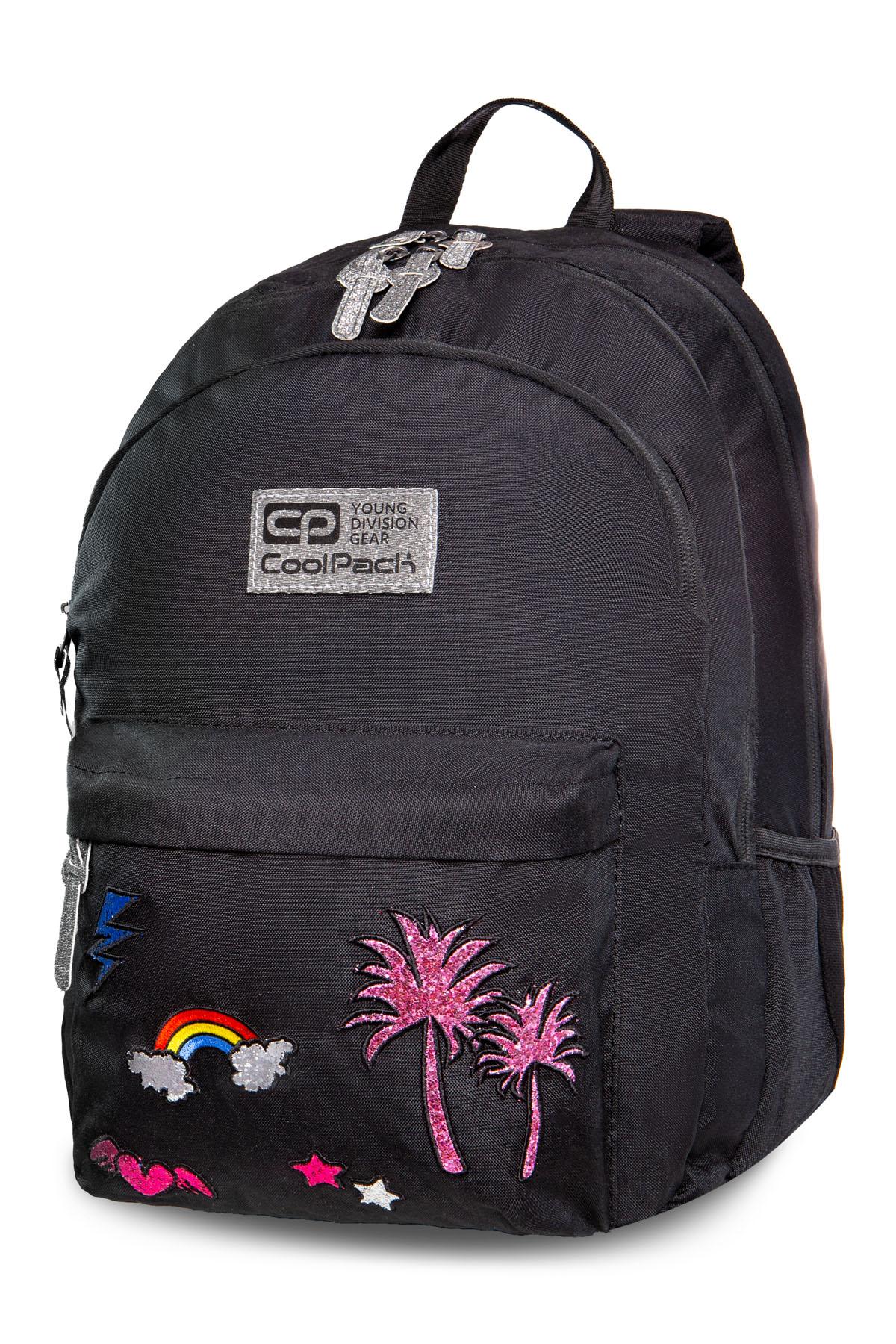 Coolpack - hippie - youth backpack - sparkling badges black