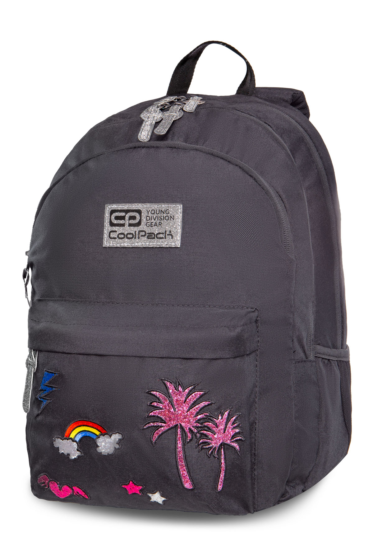 Coolpack - hippie - youth backpack - sparkling badges gray