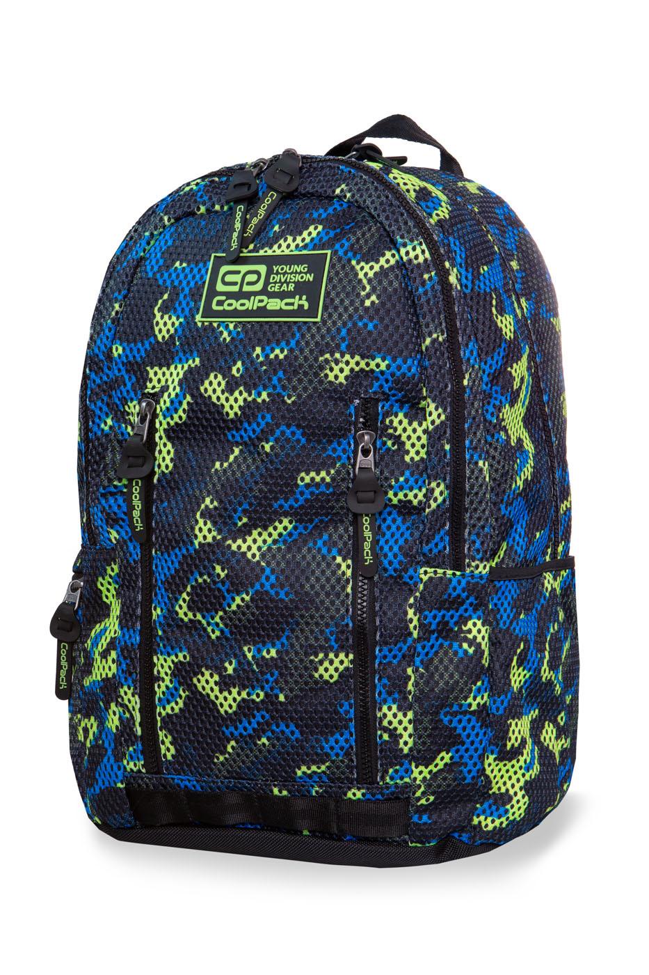 Coolpack - impact ii - youth backpack - camo mesh yellow