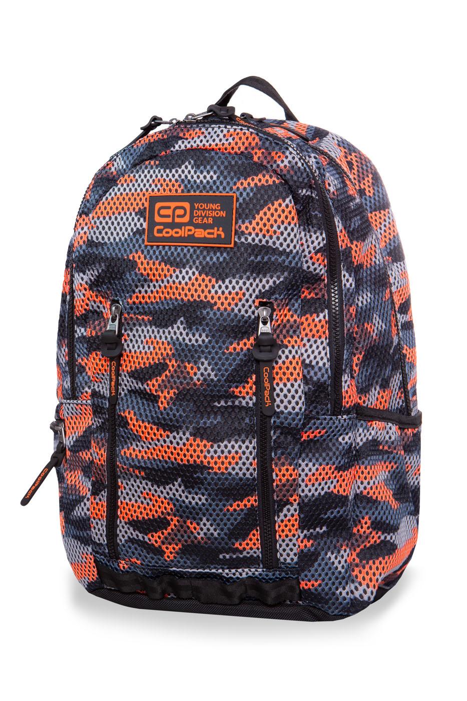 Coolpack - impact ii - youth backpack - camo mesh orange