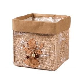 Christmas jute casing with foil 13x13x14 cm