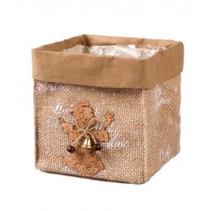 Christmas jute casing with foil 13x13x14 cm
