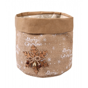 Christmas jute casing with foil 15x15x15 cm