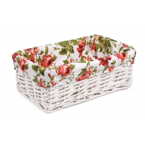 White wicker drawer with roses material 35x21x13h cm