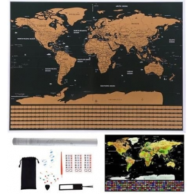 Scratch world map with accesories