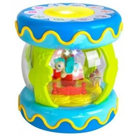 Interactive bobbin with blue carousel