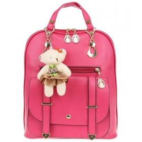 Women's pink backpack - with teddy bear