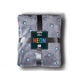Neon blanket stars gray + turquoise / 200x220