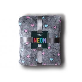 Neon blanket heart gray / 200x220