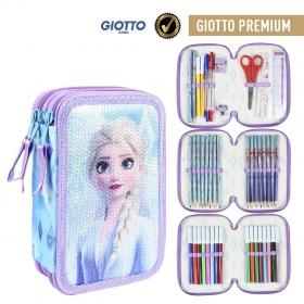 Frozen Three-chamber pencil case with Giotto Premium accessories Cerda