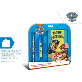 Digital watch with notebook and pen Paw Patrol