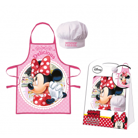 Kitchen apron with a Minnie Mouse cooking baseball cap