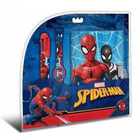 Digital watch + 6 color pen and secret diary Spiderman