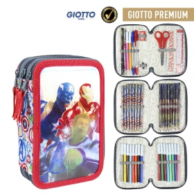 Avengers Three-chamber pencil case with Giotto Premium accessories Cerda