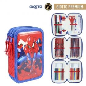 Spiderman Three-chamber pencil case with Giotto Premium accessories Cerda