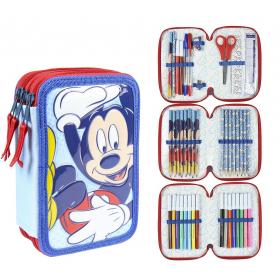 Mickey Mouse Three-chamber pencil case with Giotto Premium accessories Cerda