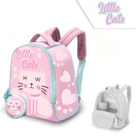 Little Cats neoprene backpack with a 25 cm wallet