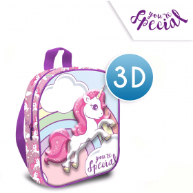 One-compartment 3D Unicorn backpack