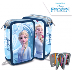 3 compartments pencil case with Frozen accessories