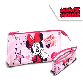 3 compartments pencil case Minnie Mouse