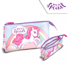 Three-chamber pencil case Unicorn