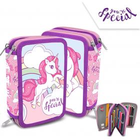 3 compartments pencil case with accessories Unicorn