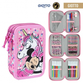 Minnie Mouse Giotto Filled Triple Pencil Case 3 Compartment