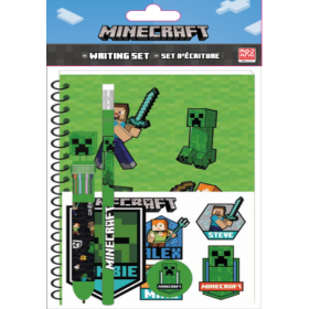 Minecraft notebook with ballpen and pencil set