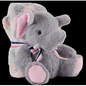 Soft plush elephant with blanket